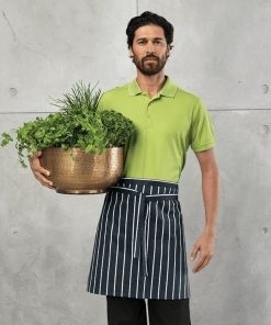 Chef with Navy and White Striped Waist Apron