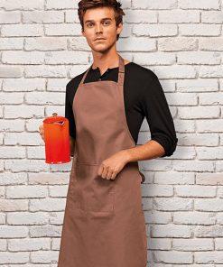 Waiter wearing bib apron with pocket