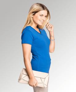 Ladies Royal Blue V Neck T-Shirt