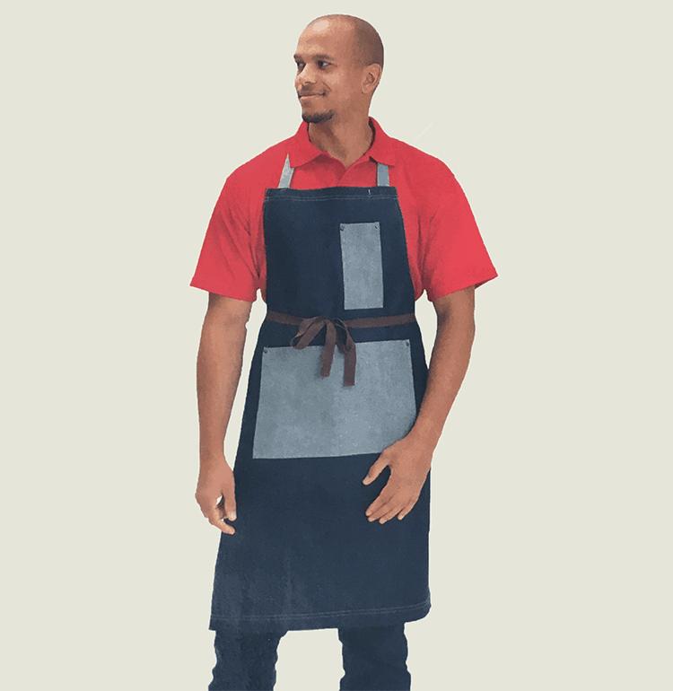 Denim Bib Apron with Pocket