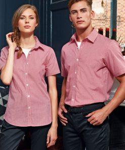 Ladies Short Sleeve Gingham Shirt