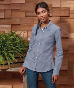 Ladies Long Sleeve Gingham Shirt