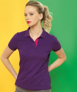 Women's Contrast Purple and Pink Polo