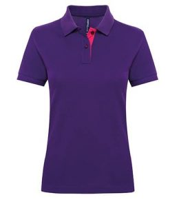 AQ022 - Women's Contrast Polo Front