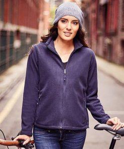 woman wearing a navy fleece