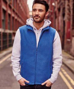 Man wearing blue fleece gilet