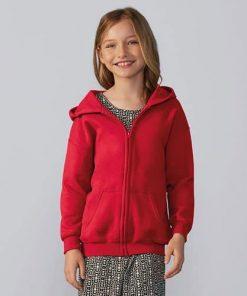 Child wearing red zip hoodie