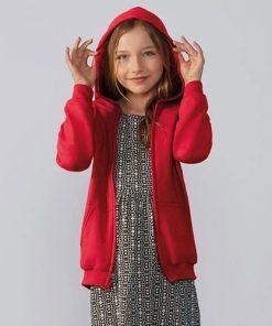Child wearing zip hoodie