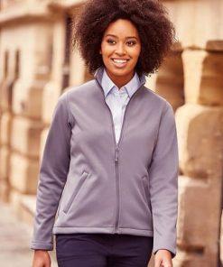 women wearing grey softshell jacket