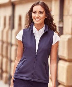 Woman wearing navy gilet