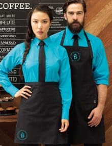 Staff with Black Personalised Aprons