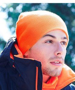 Knitted Beanie Orange Model