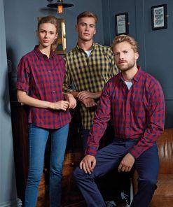 Men and women wearing check bar shirts