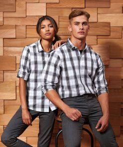 Men Long Sleeve Check Bar Shirt