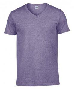 GD10 Gildan Softstyle V Neck T-Shirt Heather Purple Front