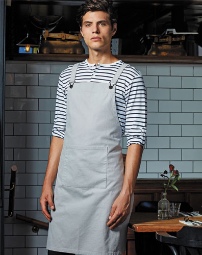 Silver Cross Back Barista Bib Apron