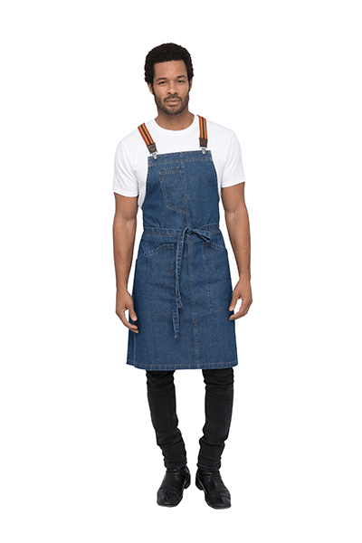 Denim Berkeley Bib Apron in Mid Blue