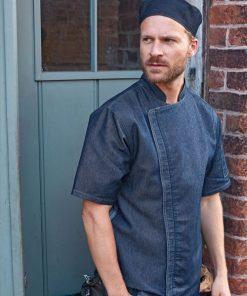 Short sleeve zip chef jacket in indigo